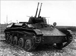 Т-60 со спаренными зенитными пулемётами ДШК