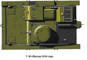 малый плавающий танк Т-38 образца 1936 года - вид сверху