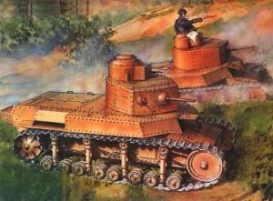 средние танки Т-24 и Т-12 на полигоне