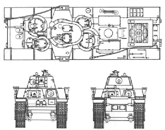 Т-35 образца 1939 года. Вид сверху, спереди и сзади