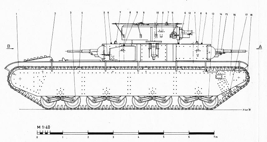 танк Т-35-1 вид сбоку