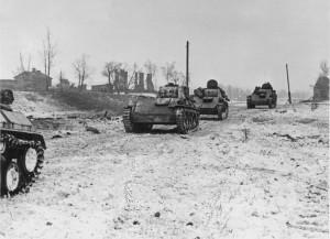 колонна Т-40 под Ленинградом декабрь 1941