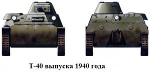 танк Т-40 виды спереди и сзади
