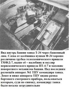 Внутренний вид башни Т-34 первой партии