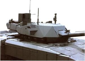 Для снижения заметности танка на башне устанавливается легкий кожух